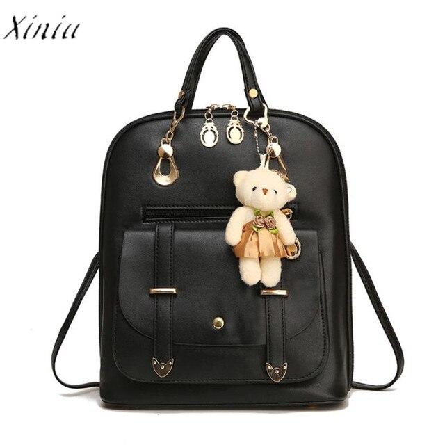 bb6a5640fce9 Fashion Women Backpack Girl School Leather Shoulder Bag Travel Rucksack  Purse Bear Pendant Backpack Women Mochila Feminina