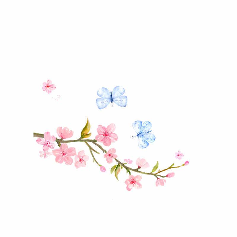 YOJA Kelebekler Surround Çiçek Şubeler Duvar Sticker Renkli Anahtarı PVC Çocuk Odası Badroom Dekor 8SS0452