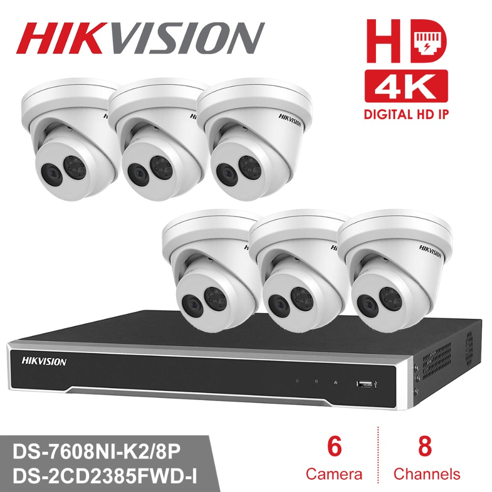Hikvision 8CH POE NVR KIT DS-7608NI-K2/8P & 6 pieces of 8MP Network IR POE IP CamerasDS-2CD2385FWD-I 4pcs hikvision surveillance camera ds 2cd2155fwd i 5mp h 265 dome cctv ip camera hikvision nvr ds 7608ni i2 8p 8ch 8ports poe