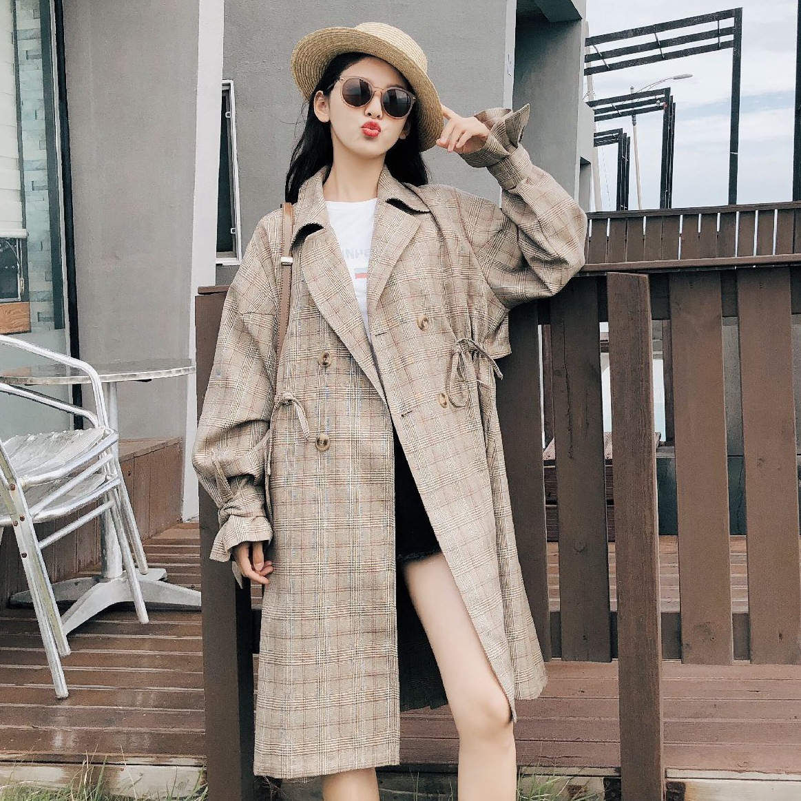 2018 Autumn Outerwear Light Coffee Cloak Type Windbreaker Woman Chic Drawstring Waistband   Trench   Coat Loose Sleeve Plaid Coat