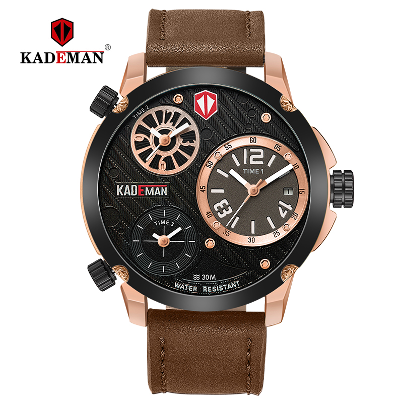 KADEMAN Men's Watches Big Dial 3 Time Zone Fashion Business Luxury Brand Rose Gold Waterproof Leather Relogio Masculino 6100-in Quartz Watches from Watches    1