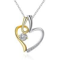 Gold Platinum Plated Big Czech Diamond CZ Stones Pave Pendant Elegant Exquisite Good Necklaces Jewelry Friendship