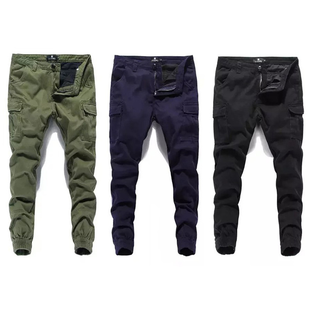24063f7e Fashion Classical Men Jeans Jogger Pants Street Denim Cotton Cropped Pants  Ankle Banded Army Pants Brand