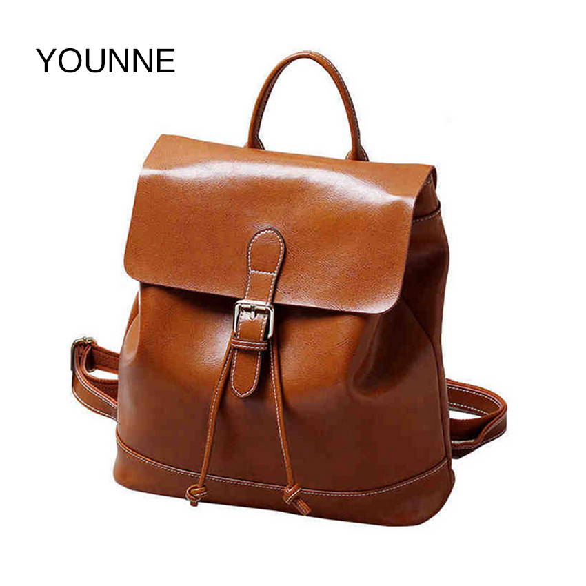 YOUNNE New Genuine Leather Fashion Women Backpacks Vintage Street Casual Bags Travel Carry Bag faux leather fashion women backpacks vintage casual daypacks shoulder bags travel bag free shipping