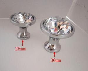 Image 2 - 28 & 33mm יהלומי זכוכית קריסטל זכוכית סגסוגת דלת מגירת ארון מלתחה למשוך ידית ידיות זרוק משלוח סיטונאי