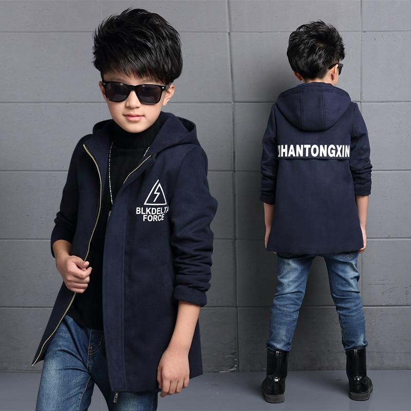 2018 детская одежда Куртки мальчиков осенние и зимние утепленная верхняя одежда средней длины Тренч для мальчиков шерстяное пальто