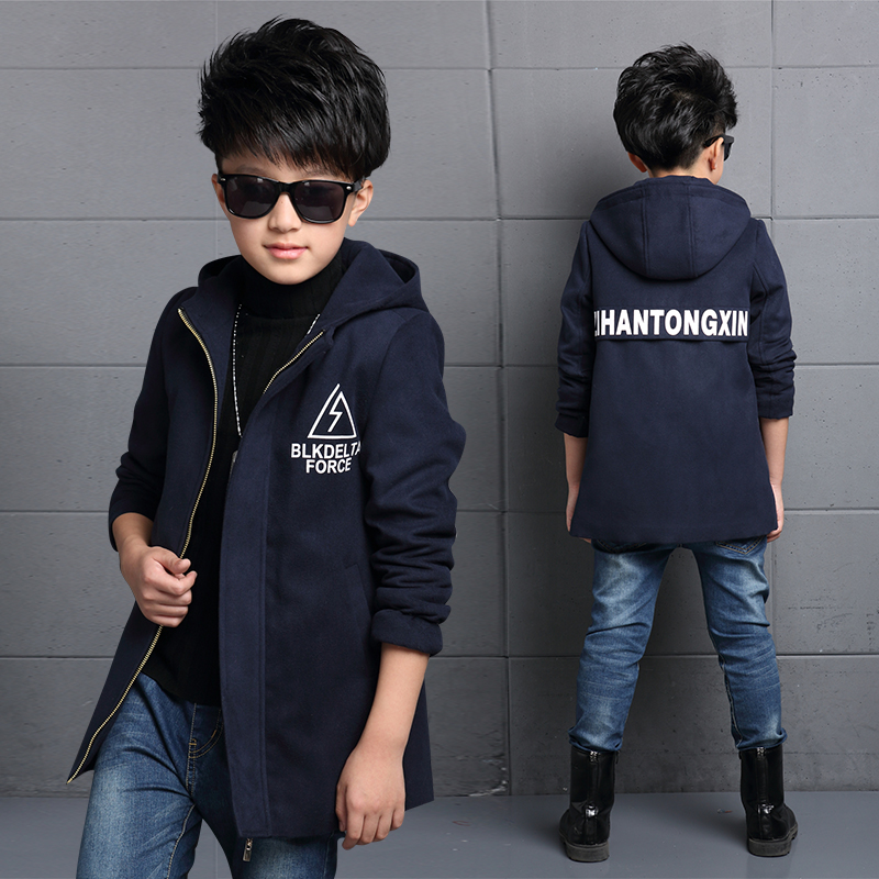 2018 children's clothing Jackets boys autumn and winter thickening outerwear medium-long trench Male children woolen overcoat 2018 children s autumn clothing solid color cartoon trench coats girls casual medium long outerwear