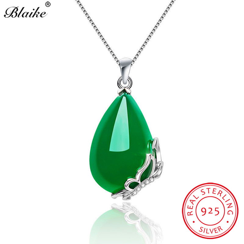 Blaike Chic Green Chalcedony Water Drop Stone Butterfly