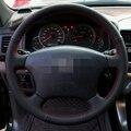 Mão-costurado Couro Preto Cobertura de Volante para o Velho Toyota Land Cruiser Prado 120