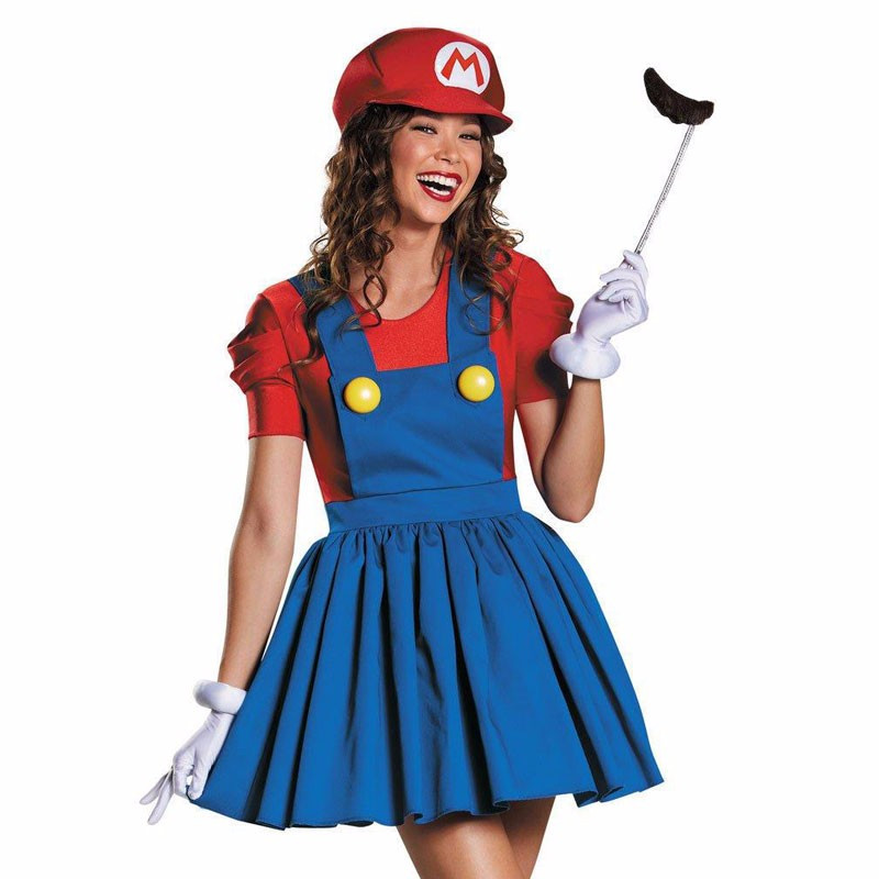 2017 Super Mario Costume Adults Women Halloween Anime Cosplay Super Mario Bros. Costume Halloween Fancy Dresses