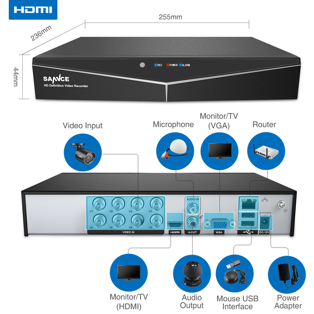 Image 3 - SANNCE 4/8 Channel 720P H.264 Video Recorder HDMI Network D1 Realtime CCTV DVR NVR HVR 8CH for Home Security Camera System-in Surveillance Video Recorder from Security & Protection