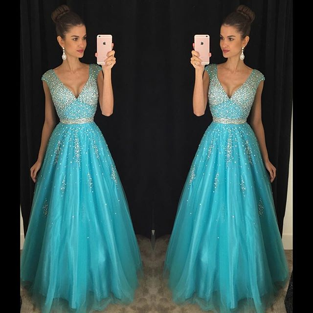2016 Latest Design Ball Gown V Neck Sky Blue Prom Dresses Cap Sleeves  Sequined Beading Top. Popular Latest Tops Designs Girls Buy Cheap Latest Tops Designs