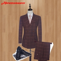2018 Smart Casual Suits Double Breasted Groom Tuxedos Damier Check Groomsman Suit Custom Made Man Suit (Jacket+pants+vest)