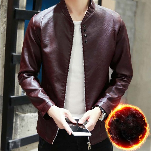 4 Colors New Fashion PU Mens Leather Jackets Autumn Winter Motorcycle Jacket Faux Fur Coats Slim Outerwear Clothing Fit for Male