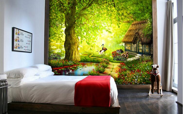 3d Room Wallpaper Custom Mural Non Woven Wall Sticker The Fairy Tale Forest  Cabin Style Painting Photo 3d Wall Murals Wallpaper Part 95