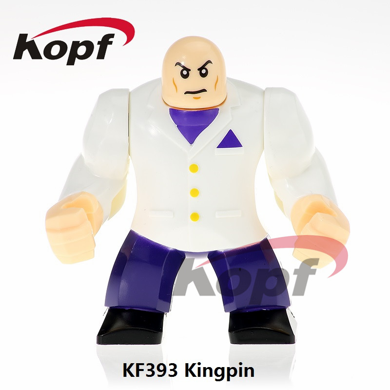 KF393 Single Sale Super Heroes Building Blocks 7CM Big Size Kingpin Colossus Big Thing Best Education For Children Gift Toys super heroes single sale the villain of yellow lantern skeletor heman he man he man building blocks toys for children gift kf921