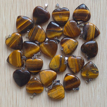 цена на 2015 Fashion Hot Sell Natural Tiger eye Heart Charm Pendants Stone for jewelry making 50pcs/lot  Wholesale free shipping