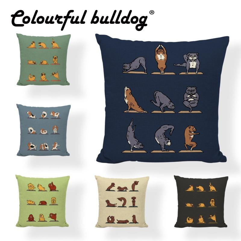 Fanny Pet Dog Yoga Pillow Case European Bull Terrier Golden Retriever 43*43cm Dachshund Dog Schnauzer Decorate House Living Room