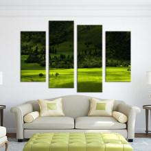 4PCS green tree mountain Wall painting print on canvas for home decor ideas paints on wall pictures art No framed art picture(China)