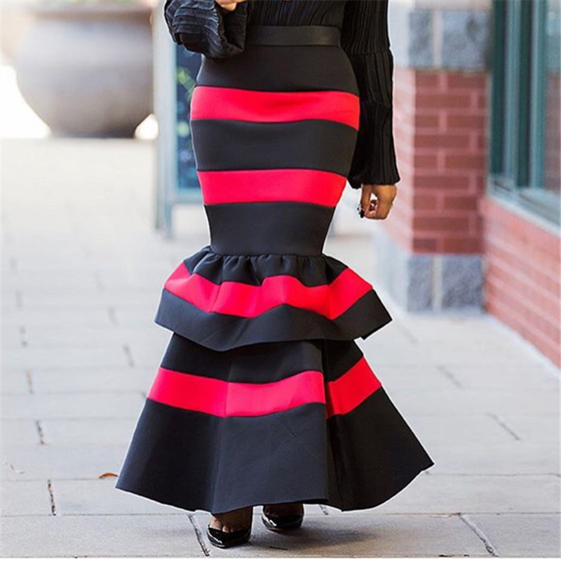 2020 Fashion Skirt Women Red Black Patchwork Skirt High Waist Maxi Long Zipper Slim Summer Jupe Saias Classy Femme Party Faldas