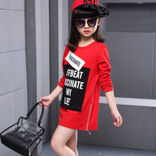 2016 spring fashion girl sports long t-shirts dress letter print long-sleeve casual t-shirt girl top zip decorate