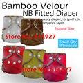 Recém-nascido de veludo de bambu fralda equipada, Natural de bambu fralda equipada, Ea2 NB fralda de bambu, Fit o bebê de 2.8-5kgs, Não à prova d ' água