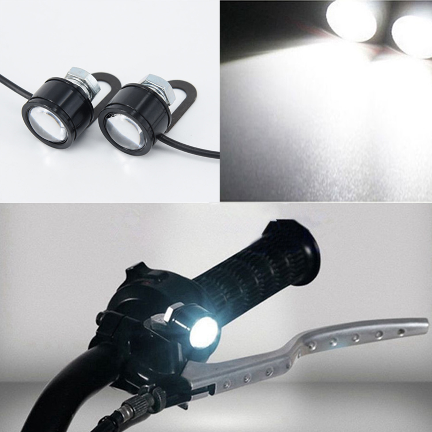 Universal 2 PCS Motorcycle LED Headlight Motorbike Driving Spotlight Street Moto Fog Spot Head Light Lamp Electric Motorcycle