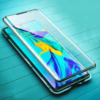 Designer caso de telefone para huawei p30 p20 companheiro 30 nova 5 honra 20 pro lite adsorção magnética de corpo inteiro metal temperado capa de vidro