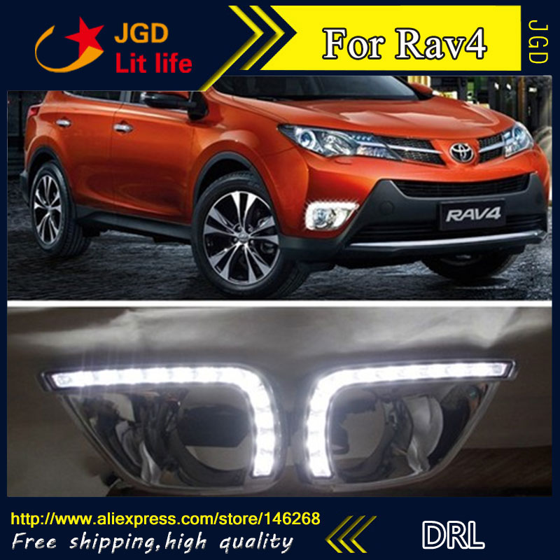 Free shipping ! 12V 6000k LED DRL Daytime running light for Toyota Rav4 2013 2014 2014 fog lamp frame Fog light Car styling