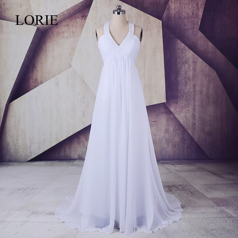 Plus Size Wedding Dress 2018 LORIE Robe De Mariee A Line Chiffon Long Bridal Gown Empire Waist Halter Beading Top Lace Up Back