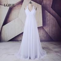 Plus Size Wedding Dress 2018 LORIE Robe de mariee A Line Chiffon Long Bridal Gown Empire Waist Halter Beading top Lace up Back