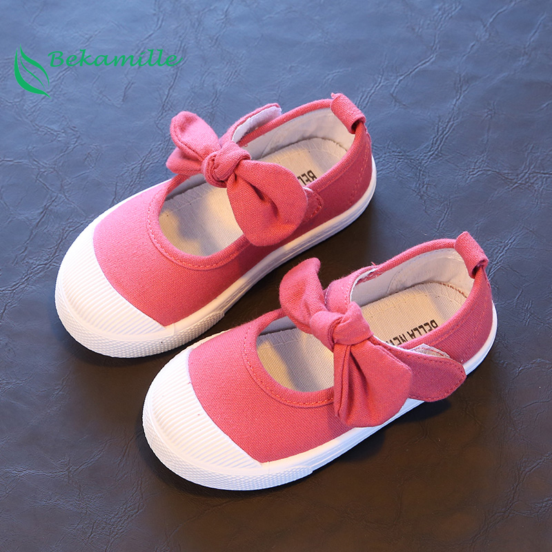Bekamille Spring Autumn Children Canvas Casual Shoes Kids Lovely Bow Flat Heels Shoes Girls Princess Solid Color Sneakers