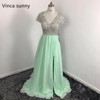 Long Evening Dresses 2017 Green Slit Prom Gowns Crystals Beaded Party Dresses V Neck A Line Vestidos De Festa Robe de soiree
