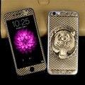 Для iPhone 5S SE 6 S 6 Плюс Передняя Панель + Крышка 3D ПРОХЛАДНЫЙ тигр Покрытие Металл Наклейка Обложка Case Закаленное Протектор Экрана Стекло Розы золото
