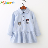 Sodawn 2017 Children Clothes Autumn New Kitten Embroidery Cartoon Striped Lapel Long Sleeve Dress Girls Dress