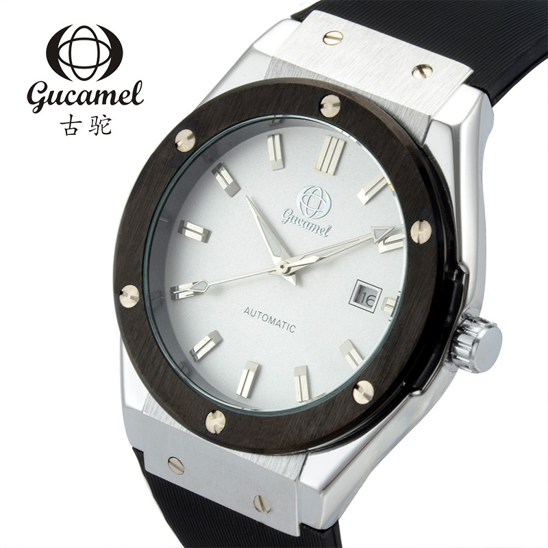 GUCAMEL Fashion Genuine Mens Automatic Mechanical Wristwatch Silicone Stainless Steel Waterproof Male Watch Relogio Horloges