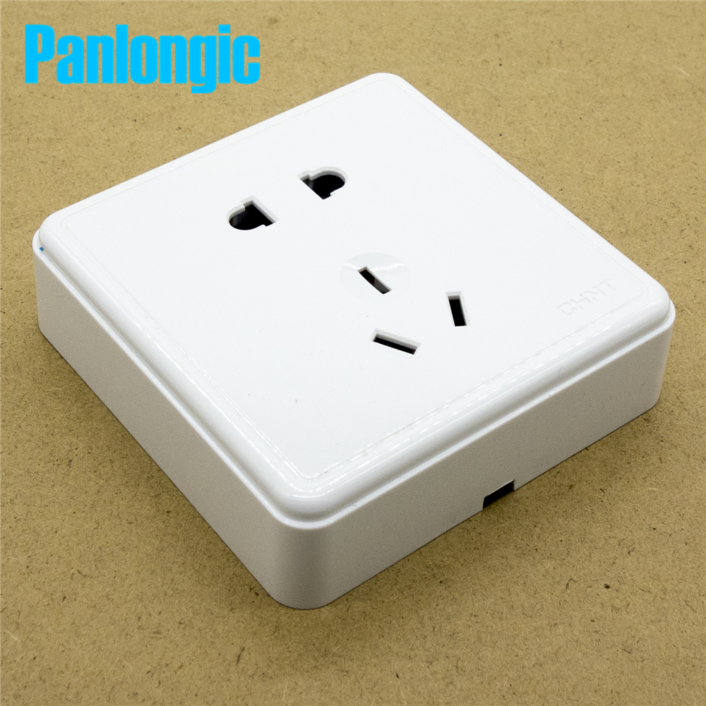 цена на Surface Mounted Pure White 86 Type Wall Socket Panel 5-Pins Outlet Electric 10A Electrical Plugs Sockets 2 Holes And 3 Holes