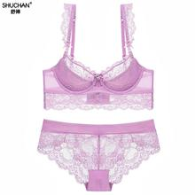 SHUCHAN Plus Size Underwear Women Bra Set Sexy Ultrathin Lingerie Big Bras Lace Transparent Embroidery15102