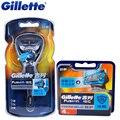 Original gillette fusion proshield flexball máquina de afeitar cuchillas de afeitar con el factor cool 1 mango + 5 blade hombres máquina de afeitar