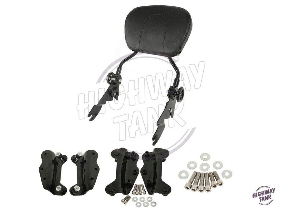 Black Motorcycle 4 Point Docking Hardware Sissy Bar Backrest Motor passenger Backrest case for Harley Touring 2009-2013