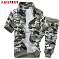 LONMMY Camouflage mens tracksuit set Cropped sweat suits men sweatshirt suit man tracksuits Slim fit Short sleeves 2017