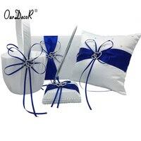 4 יח'\סט כחול רויאל כלה קישוט החתונה סאטן + ספר אורחים טבעת כרית + פרח סל + סט עט Casamente מוצרים