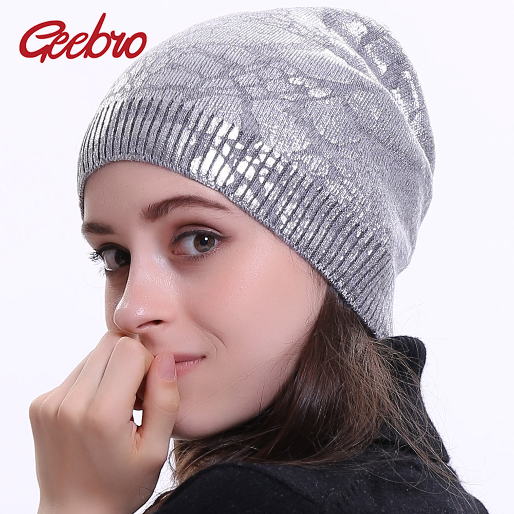 Geebro Women's Metallic Color Beanie Hat Winter Single Layer Knitted Cashmere Slouchy Beanies For Femme Hats Printing Skullies