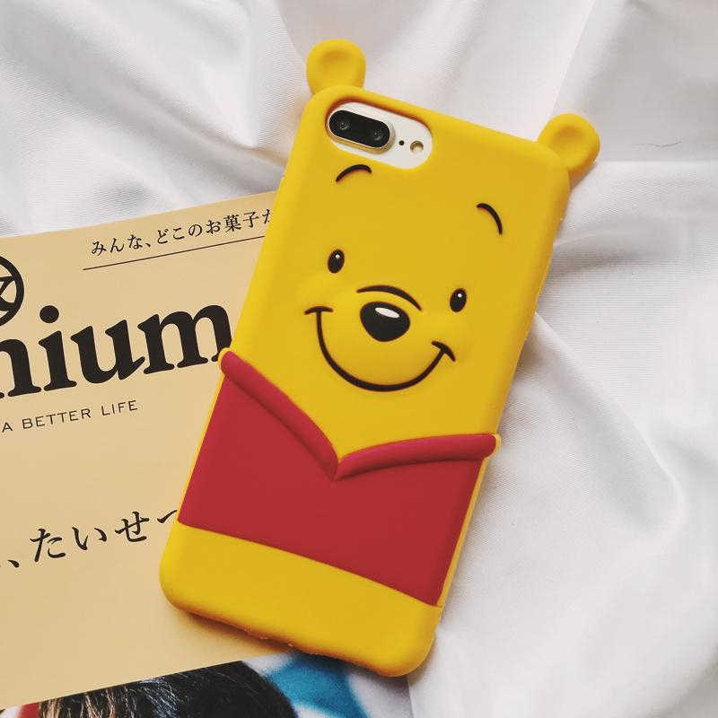the latest 268b4 74c4e 3D Cute Winnie Pooh bear Pattern soft phone case for iphone 6 S 7 8 plus X  XS MAX XR cover for samsung galaxy S7 edge S 8 9 Note