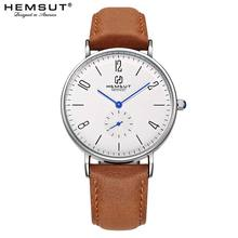 ساعة يد للرجال من Hemsut رفيعة للغاية ساعة كوارتز من الفولاذ المقاوم للصدأ من الجلد 30م مقاومة للماء باللون الأسود ساعة رجالية 2018