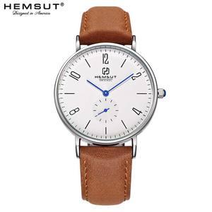 Image 1 - Mens Watch Hemsut Ultra thin Men Watch Leather Stainless Steel Quartz Watch 30m Waterproof Black relogio masculino 2018