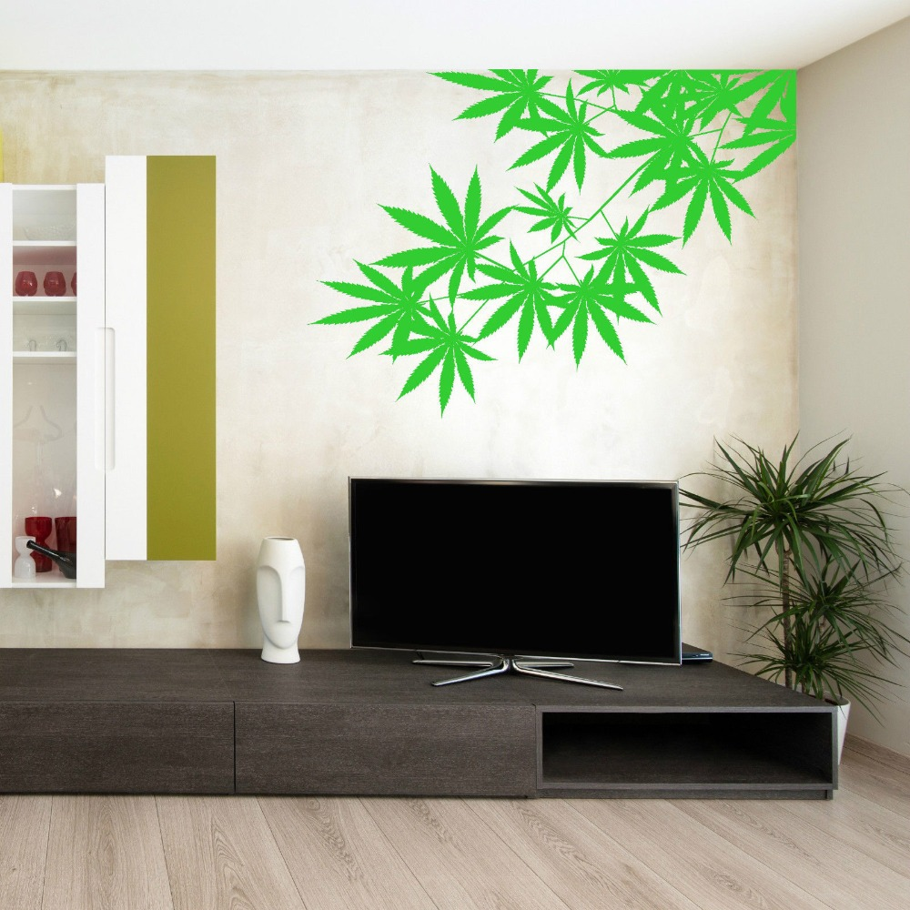 Green Tree Leafs Plant Weed Vinyl Design Wall Sticker Art Home Living Room Bedroom Decor Left
