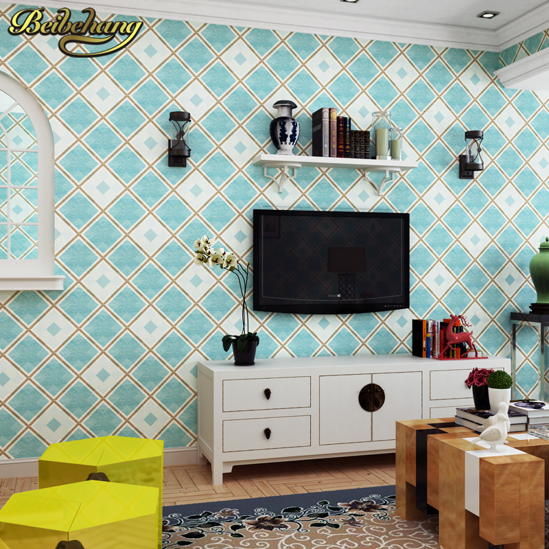 beibehang 3D wallpaper for walls living room bedroom TV background Papel de parede British Mediterranean Blue wall paper roll beibehang blue retro nostalgia wallpaper for walls 3d modern wallpaper living room papel de parede 3d wall paper for bedroom