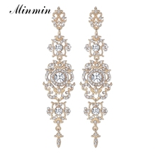 minmin Gold Jewelry Gilded Long Earrings for Women Floral Shape Fashion Crystal Accessory Dangle Earring EH182-gold