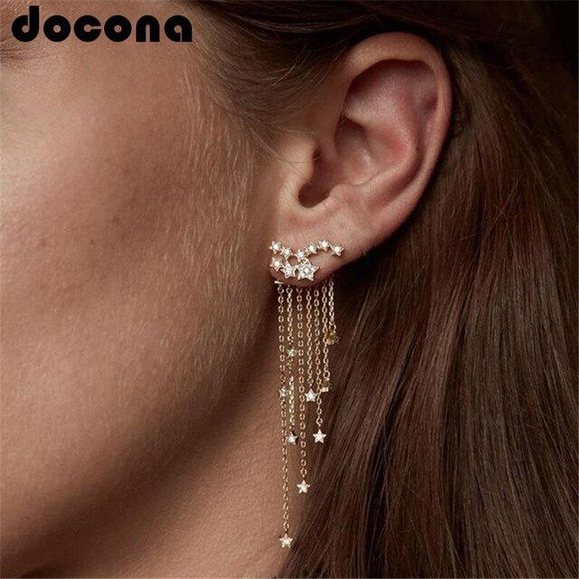 docona Punk Gold Silver Color Star Tassel Crystal Stud Earring for Women Vintage